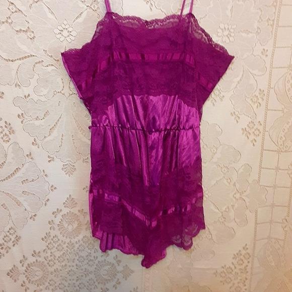 Vintage 70s Pink Lace Lingerie Teddy Bodysuit S/M